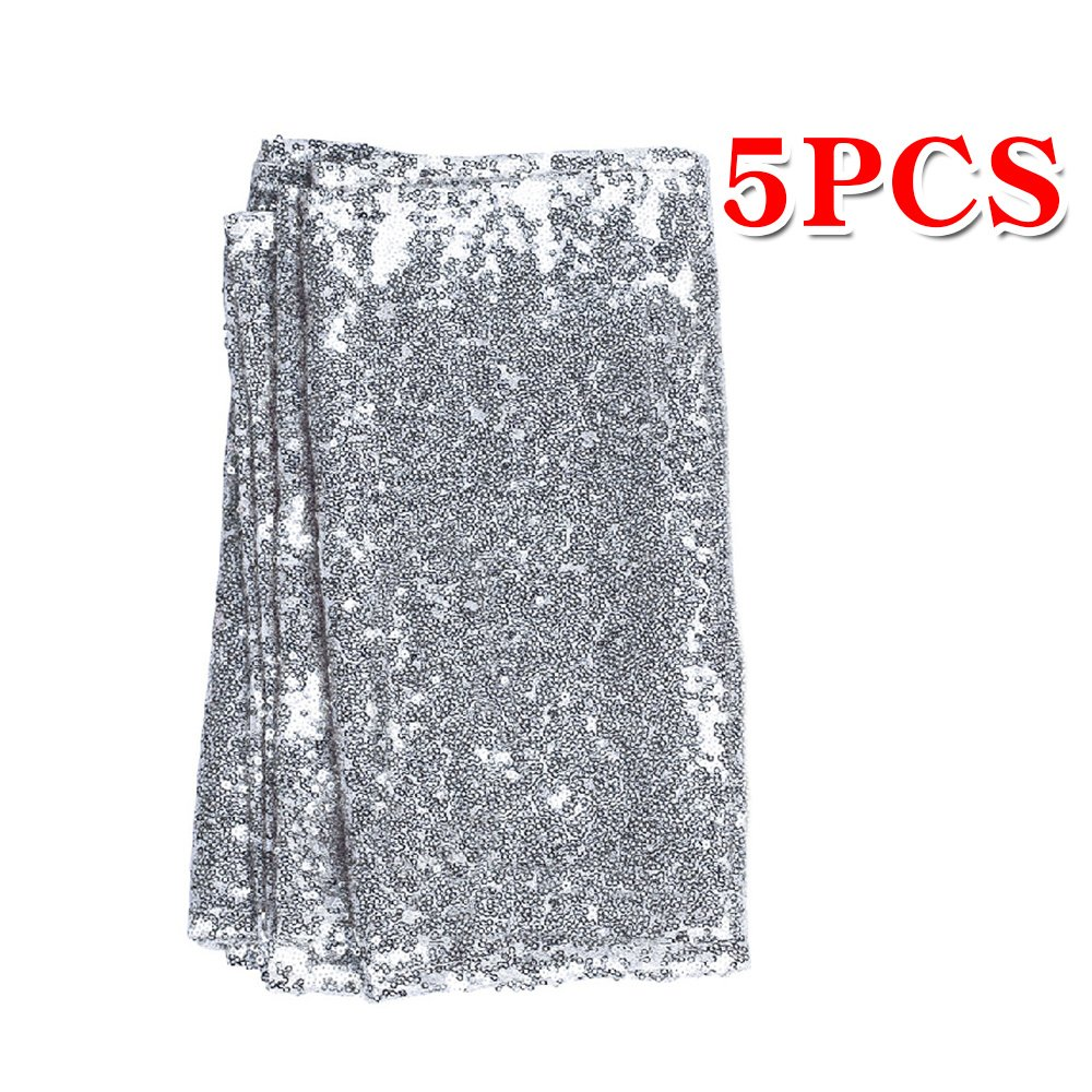 """108 inches/118 inches Sequin Gold Silver Wedding Table Runners Red Sparkly Table Runner Shinny Glitter for Banquet Party 3 Size/5 Colors Pack of 1 5 10 (12""""x108""""/Silver, 5)"""