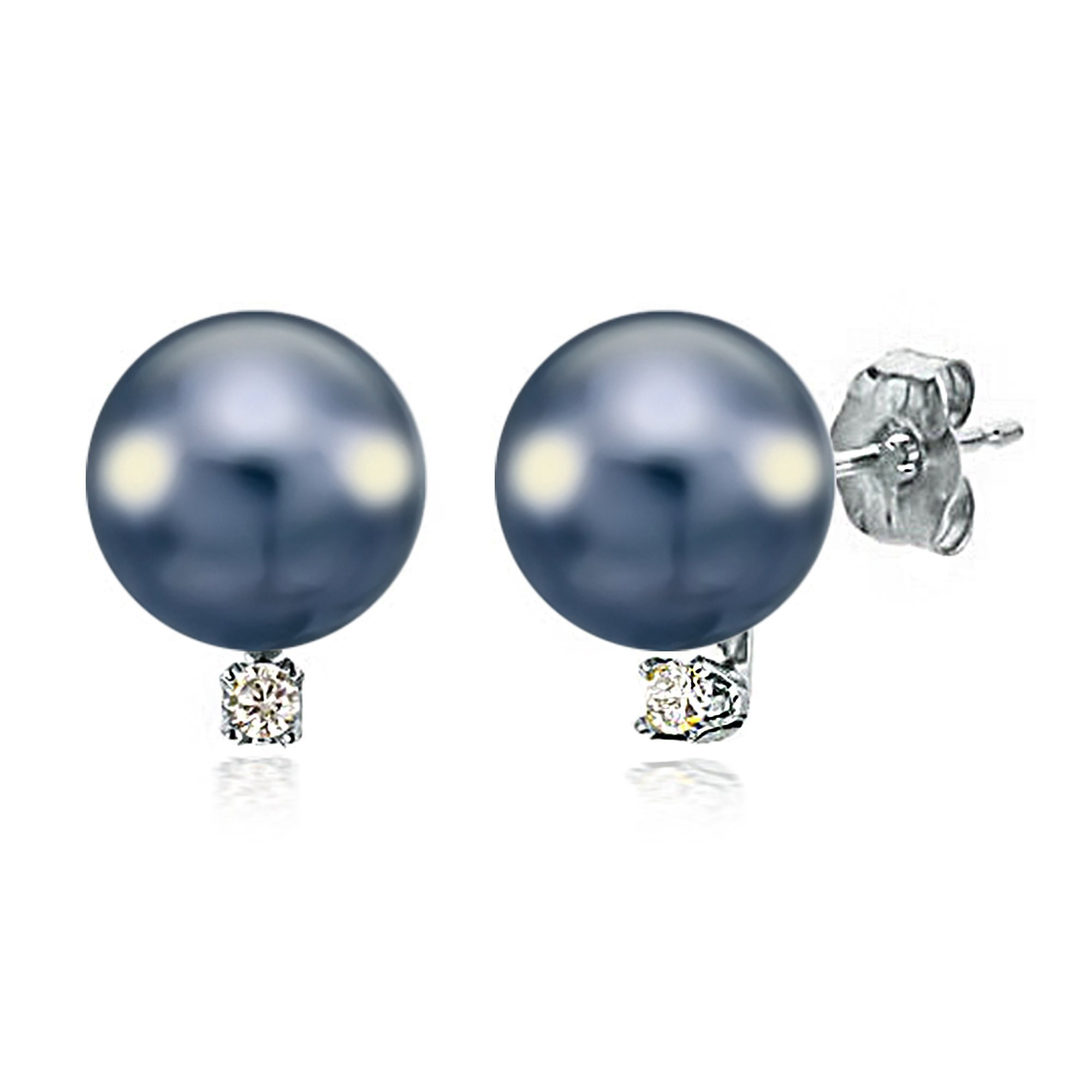 Diamond Studs Freshwater Cultured Black Pearl Earrings 14K White Gold Jewelry for Women 1/50 CTTW (G-H, SI1-SI2) - Choice of Pearl Sizes