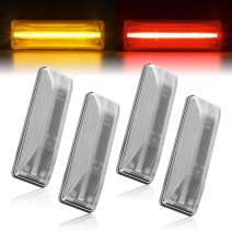 Gempro 4Pcs Front Rear wheel Amber/Red Dually Bed Fender LED Side Marker Lights Lamp Assembly Compatible for 1994-2002 Dodge Ram 2500 3500 (Clear Lens)