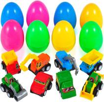 8 Pack Toy Prefilled Easter Eggs with Pull-Back Construction Vehicle Cars Assorted 3 Inches Plastic Surprise Egg Kids Easter Gifts Toys for Easter Hunt Party, Easter Basket Stuffers Fillers