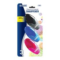BAZIC Xtreme Oval Sharpener, Single Hole, Standard Pencil Crayon w/Receptacle, Students Kids (3/pack) (box of 24)