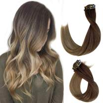 Ombre Clip in Hair Extensions Medium Brown to Ash Brown Mixed 2 Tones Real Human Hair Extensions Clip ons for Women 7 Pieces 70G Double Weft Remy Clip in Hair Extensions 15 Inch for Bride Fine Hair