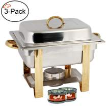 TigerChef 4 Quart Half Size Gold Accented Chafing Dish Stainless Steel Chafing Dish Buffet Set With 4 Free Chafing Fuel Gels 4 Quart Food Warmers For Parties Buffet Serving Set Catering Chafer (3 Sets)