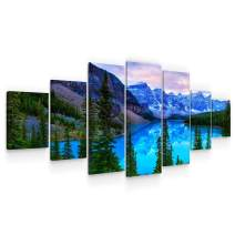 Startonight Huge Canvas Wall Art - Blue Mountain Landscape Large Framed Set of 7 40 x 95 Inches