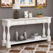 """64"""" Long Console Table Sofa Table with Drawers and Bottom Shelf for Entryway, Side Table for Entryway, Hallway, Living Room, Easy Assembly (Antique White)"""