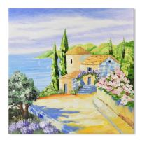 SEVEN WALL ARTS -100% Hand Painted 3D Oil Painting Italy Town Mediterranean Tuscany Sea Coast Flowers Stretched and Framed Artwork Ready to Hang Landscape Scenery Home Decor 32 x 32 Inch