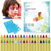 Lictin Face Paint Crayons 36 for Kids, 36 Painting Makeup Crayons & 48 Stencils, Safe for Sensitive Skin,12 Fluorescent, 6 Metallic & 18 Classic Colors, Great for Party