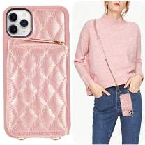 LAMEEKU iPhone 11 Pro Max Wallet Case, iPhone 11 Pro Max Card Holder Case Crossbody Purse Case Quilted Leather Lady Handbag Case Shockproof Case Compatible with iPhone 11 Pro Max, 6.5 Inch-Rose Gold