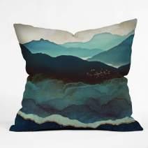 "Society6 Space Frog Designs Indigo Mountains Indoor Throw Pillow, 18""x18"", Multi"