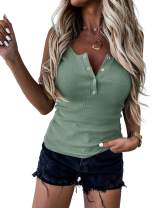 Womens Ribbed Tank Tops Casual Sleeveless Cami Tops V Neck Fitted Shirts Blouse