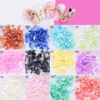 MEILINDS Nail Art Crushed Shell Seashell Set 3D Design DIY Ocean Pieces Sequins Decoration 12 Colors