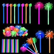 FUN LITTLE TOYS 16PCs Glow Sticks for Easter Egg Stuffers, Easter Egg Fillers Easter Party Favors,Kids Prizes(Including Animal Squishy Toppers and Glow Wands)
