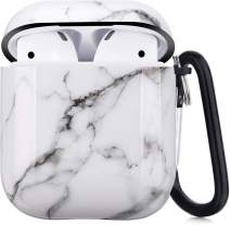 Airpods Case, Airpods Protective Hard White Marble Case Cover with Keychain Compatible with AirPods 2/1 Cute Girls Men Durable Shockproof Anti Lost Case for AirPods Charging Case