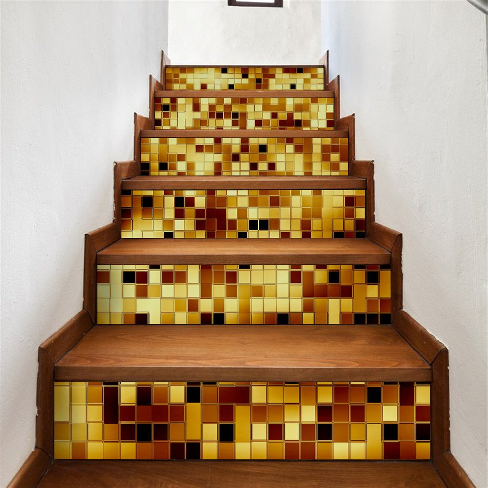 zhiyu&art decor Creative 3D Stair Stickers-DIY Staircase Sticker Murals Step Tile Stair Risers Sticker DIY Removable Peel and Stick Stair Decal Wall Stickers for Stairs 6PCS/Set
