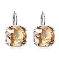 Sterling Silver Leverback Earrings with Simulated Birthstone Swarovski Crystals, Hypoallergenic Cushion Cut Cube Crystal Earrings, Birthday Anniversary Jewelry Gifts for Women