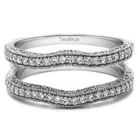 TwoBirch Sterling Silver Contour Ring Guard with Millgrained Edges and Filigree Cut Out Design With Cubic Zirconia (0.75 ct.)