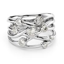 Forever Classic Scattered Stone Moissanite Cocktail Ring, 0.64cttw DEW by Charles & Colvard