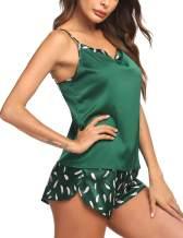 Ekouaer Pajamas Womens Sexy Lingerie Satin Sleepwear Casual Prints Cami Shorts Set S-XXL