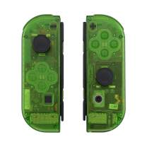 eXtremeRate Transparent Clear Green Joycon Handheld Controller Housing with Full Set Buttons, DIY Replacement Shell Case for Nintendo Switch Joy-Con – Console Shell NOT Included