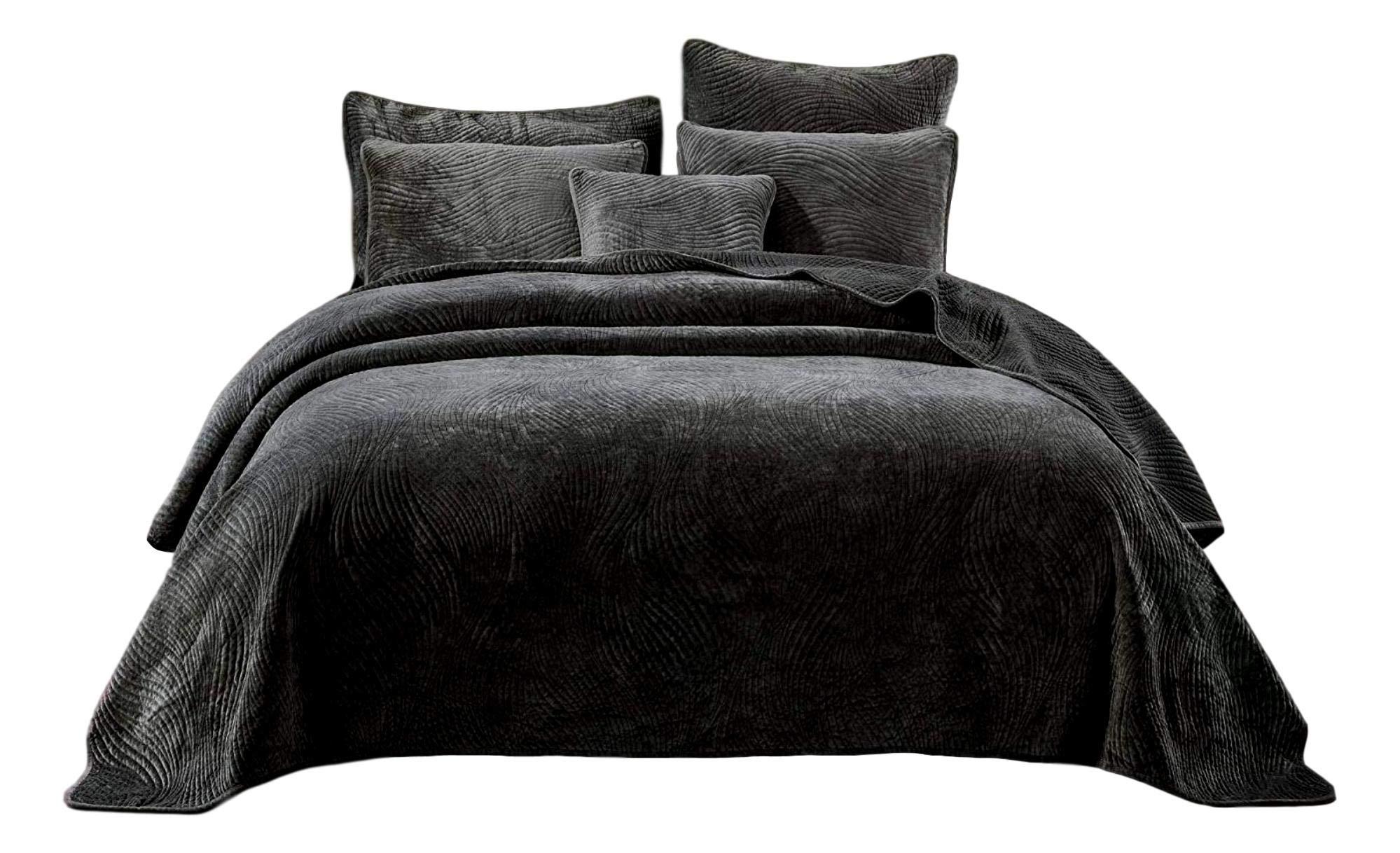 Tache Velvet Dreams Luxurious Velveteen Velour Super Soft Plush Warm Cozy Elegant Ripple Waves Stitch Quilted Coverlet Taupe Gray Brown Bedspread Set, Full