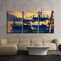 """wall26 - 3 Piece Canvas Wall Art - Fishing Boats in Harbor,Old Painting Style - Modern Home Decor Stretched and Framed Ready to Hang - 16""""x24""""x3 Panels"""