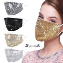 Rhinestone Sequin Bling Face Mask with Adjustable Ear Loops Lanyard Strap Clip for Women,Dark Gold Sparkle Glitter Diamond Bedazzled Crystal Decorative Cloth Covering Washable Reusable