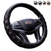 Intermerge Steering Wheel Cover Universal 15 inch, Microfiber Leather Viscose, Breathable, Anti-Slip, Odorless Universal Car Steering Cover (Black_15 inch)