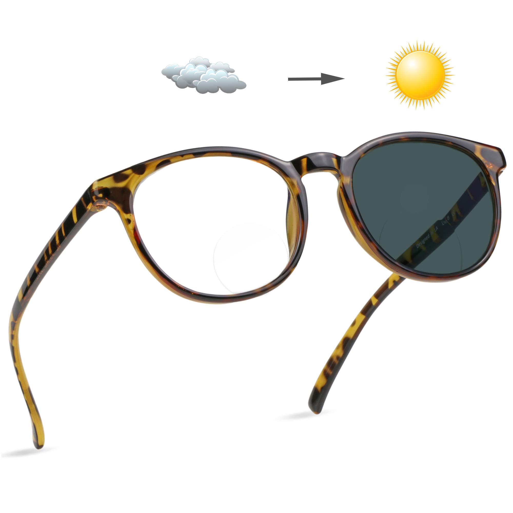 LifeArt Bifocal Reading Glasses, Photochromic Dark Grey Sunglasses with Round Frame +1.50 Magnification for Women/Men, (Tortoise)
