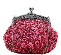 Chicastic Full Sequin Mesh Beaded Antique Style Wedding Evening Formal Cocktail Clutch Purse