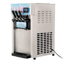 INTBUYING Commercial Soft Serve Ice Cream Machine 8L/H(4.75 Gallon/H) 3 Flavor Electric Soft Ice Cream Maker 110V 1200W