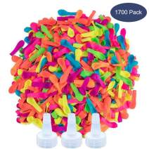 Ueerdand 1700 Pack Water Balloons with Refill Hose Nozzle Eco-Friendly Latex Balloons for Kids Adults Outdoor Water Bomb Fight Games (1700 Balloons)