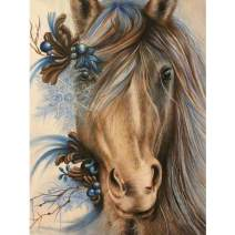 MXJSUA DIY 5D Diamond Painting Full Round Drill Kit Picture Art Craft for Home Wall Decor 12x16In Horse