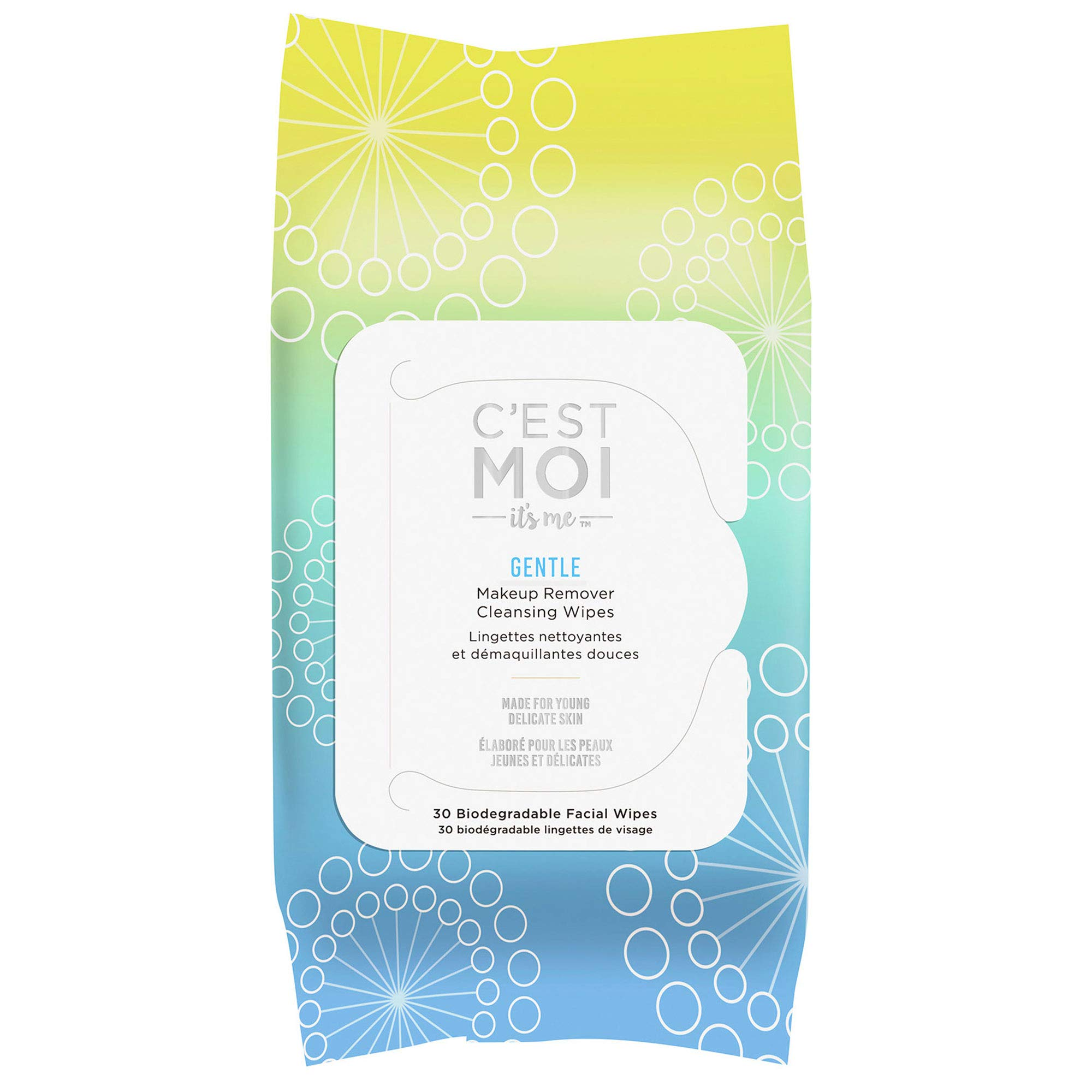 C'est Moi Gentle Makeup Remover Cleansing Wipes   Organic Aloe, Glycerin, Green Tea and Cucumber Extract Biodegradable Facial Wipes, Fragrance Free, Gentle Cleanser, 30 Biodegradable Wipes