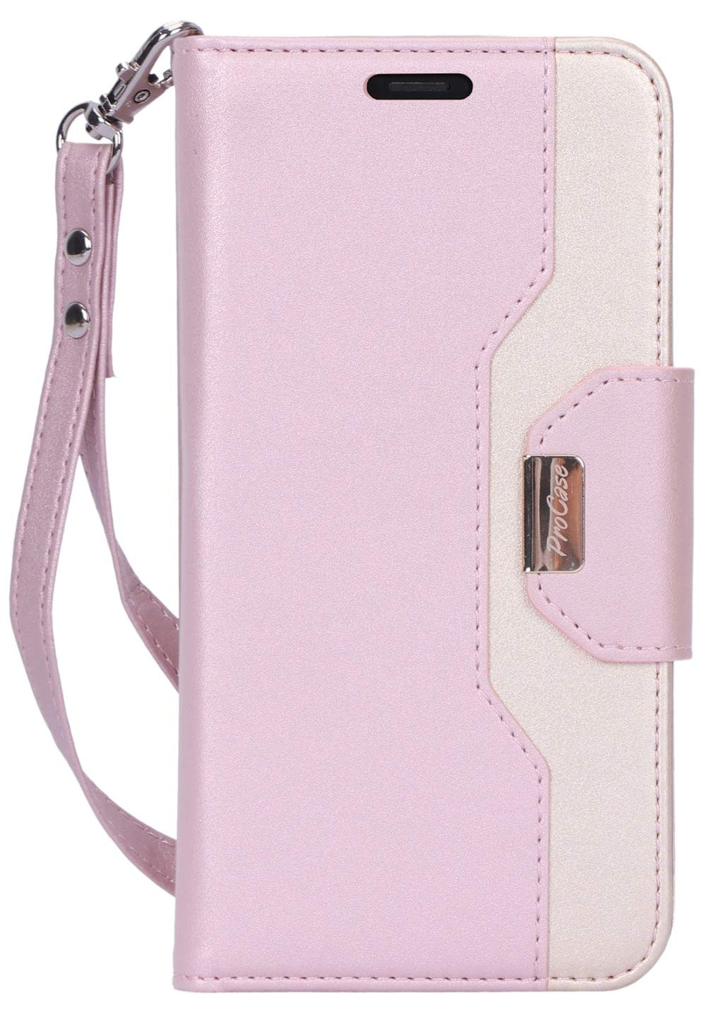 """Procase iPhone 11 Pro Wallet Case for Women, Flip Folio PU Leather Case with Card Holder Hand Strap, Protective Wallet Case for iPhone 11 Pro 5.8"""" 2019 -Pink"""