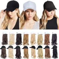 Felendy Baseball Cap with Hair Attached For Women,Curly Wavy Long Hairpiece Baseball Hat Adjustable Wig Extensions Ginger Brown Mix Bleach Blonde
