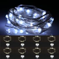 LXS Waterproof String Lights,Battery Operated Silver Wire 2M/20 LEDs Fairy Light for Christmas Wedding Party Indoor Outdoor Decoration,8 Pack(Pure White)