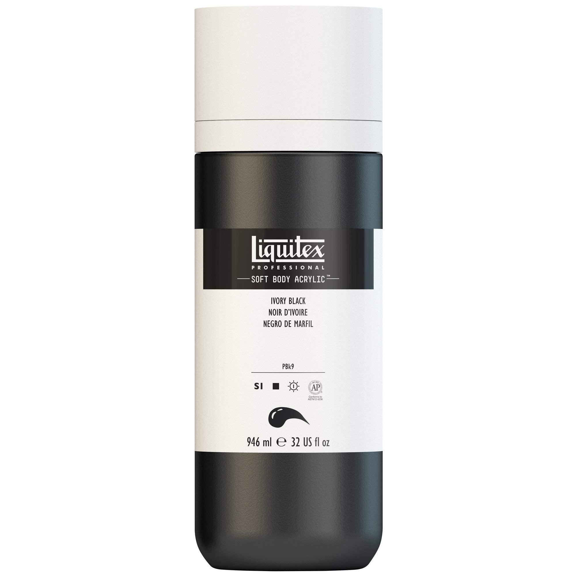 Liquitex Professional Soft Body Acrylic Paint 32-oz bottle, Ivory Black