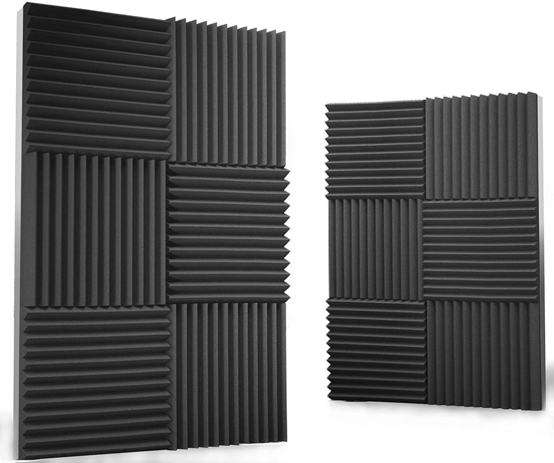 "Siless 12 pack Acoustic Panels 1"" X 12"" X 12"" – Acoustic Foam - Studio Foam Wedges - High Density Panels – Soundproof Wedges (Slate)"