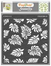 CrafTreat Leaves Stencils for Painting on Wood, Canvas, Paper, Fabric, Floor, Wall and Tile - Tropical Leaves Stencil - 6x6 Inches - Reusable DIY Art and Craft Stencils for Painting Leaves