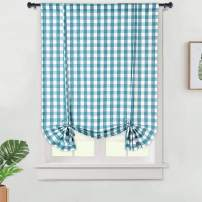 "Haperlare Tie Up Curtains, Buffalo Check Plaid Gingham Pattern Adjustable Tie Up Shades for Window, Farmhouse Rod Pocket Kitchen Curtains Bathroom Window Curtains, 42"" x 63"", Teal/White"