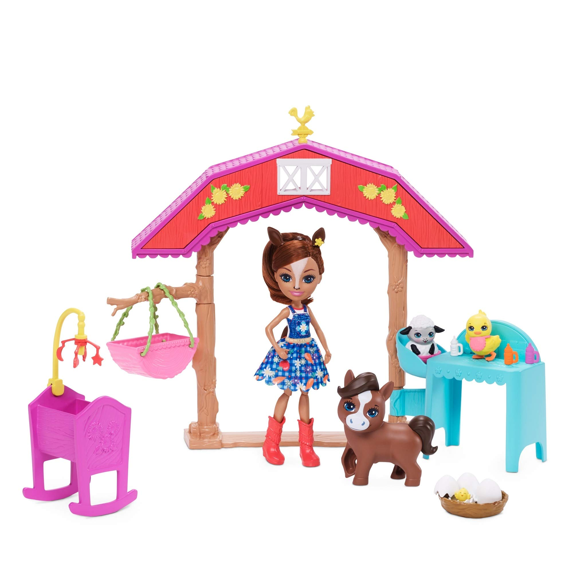 Enchantimals Barnyard Nursery Playset with Haydie Horse Doll (6-inch), Trotter Horse, 3 Additional Animal Figures, and 10+ Accessories [Amazon Exclusive]