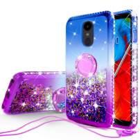 Liquid Glitter Case for LG K30 2019/Arena 2/Escape Plus/Tribute Royal/X2/Journey Case Ring Kickstand w/Tempered Glass Screen Protector - Purple/Blue