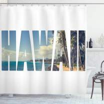 "Ambesonne Hawaiian Shower Curtain, Word Hawaii with Tropical Island Photo Exotic Popular Places Palm Forest by Ocean, Cloth Fabric Bathroom Decor Set with Hooks, 75"" Long, Blue White"