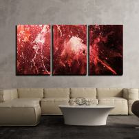 "wall26 3 Piece Canvas Wall Art - Abstract Painting with Blurry and Stained Structure. Color Effect and Computer Collage - Modern Home Decor Stretched and Framed Ready to Hang - 16""x24""x3 Panels"