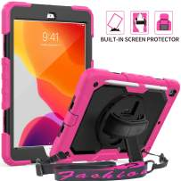 """iPad 7th Generation 10.2 Case, SEYMAC 3 Layer Armor Shockproof Case with [Built-in Screen Protector] Pencil Holder 360 Degree Swivel Stand [Hand Strap] for 2019 iPad 7th Generation 10.2"""" (Pink/Black)"""