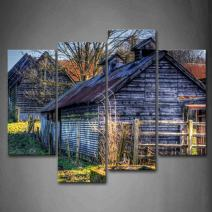 Wooden Cabins Tree Lawn Wall Art Painting Pictures Print On Canvas The Picture for Home Modern Decoration