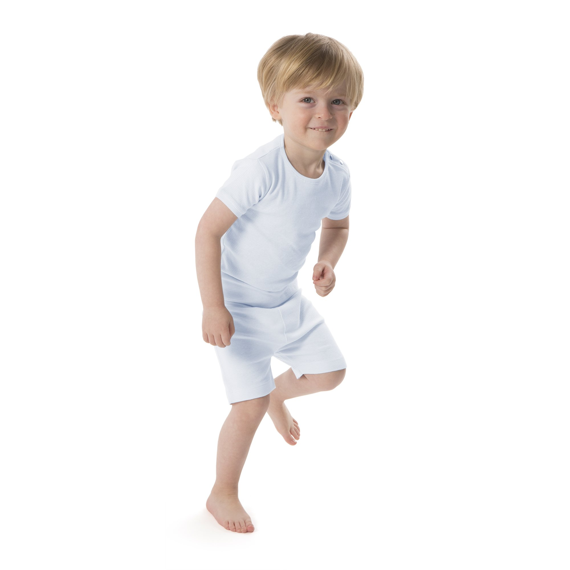baby deedee Short Sleeve Cotton 2 Piece Tee Shirt/Shorts and Pajama Play Set, Blue Stripes, 6-12 Months