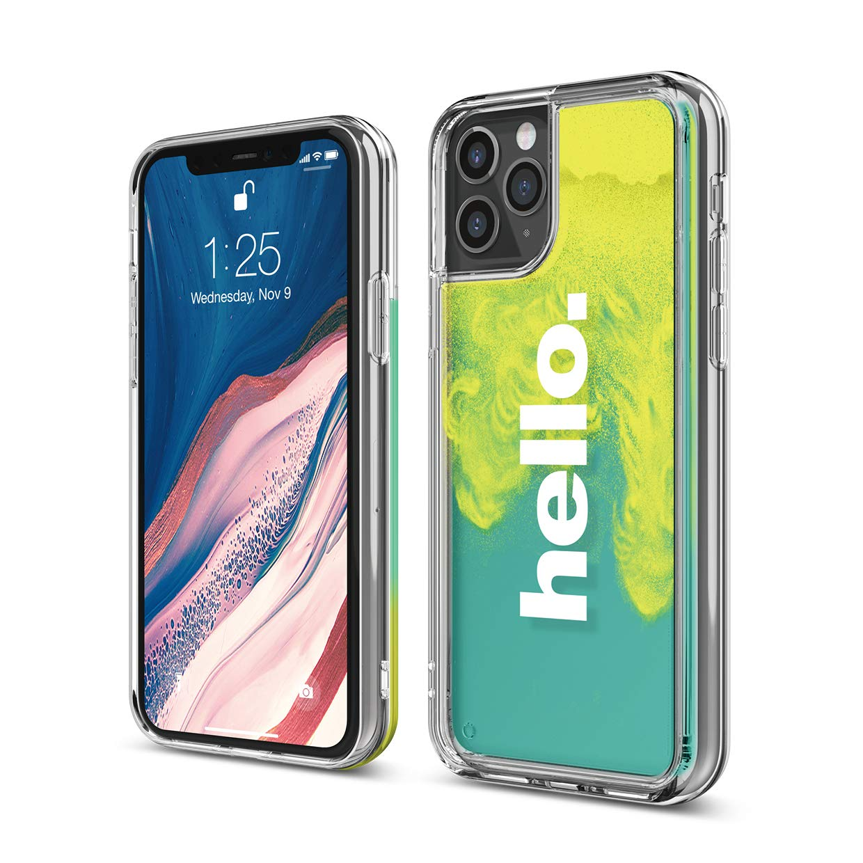 elago iPhone 11 Pro Case - Waterfall Effect, Liquid Neon Sand, Camera/Drop Protection, Fully Covered, Fit Tested, [Hello : Neon Yellow (Nightglow Green) + Coral Blue]