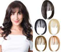 Felendy Clip in Bangs Hair Piece One Piece Thin Fringe Front Neat Air Bangs Extensions with Temple Hand Made Light Red Brown