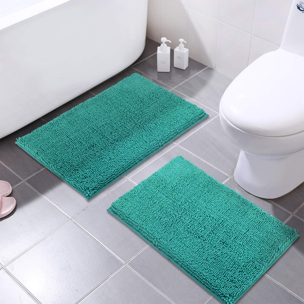 Mayshine 16x24 Inches Non Slip Bathroom Rug Shag Shower Mat Machine Washable Bath Mats With Water Absorbent Soft Microfibers 2 Pack Turquoise